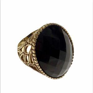 ROSS-SIMONS Black Onyx Gold Cocktail Ring